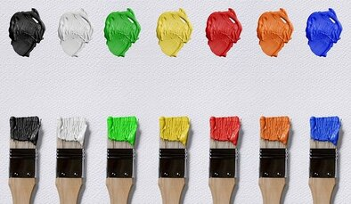 Picture of seven paint brushes on a white background. They each have a color on them. Black, white, green, yellow, red, orange and blue are the colors on the brushes.